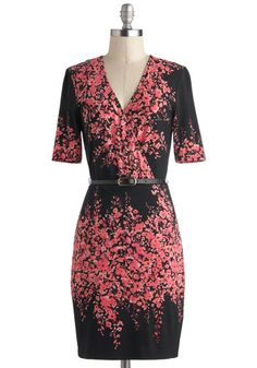 Make a Wisteria Dress by Max and Cleo - Mid-length, Pink, Black, Floral, Belted, Work, A-line, Wrap, Short Sleeves, V Neck