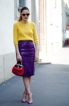 7 Color Combinations Perfect for Spring – Glam Radar : yellow sweater with purple skirt Lila Outfits, Purple Outfits, Colourful Outfits, Skirt Outfits, Looks Style, Street Style Looks, My Style, Lila Rock, Mode Pop