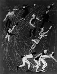 Skates  1927 year  Gouache on canvas  Moscow. The State Tretyakov Gallery