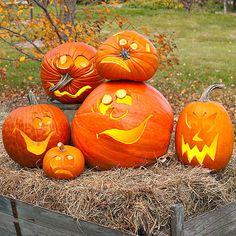 Pose your jack-o'-lanterns for a picture and they turn into a gang of real cutups. A perfect idea for not-so-perfect pumpkins, this grouping works best if you play up the flaws./