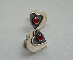 Sterling Silver Heart Earrings with Carnelian by Kailajewellery, £38.00
