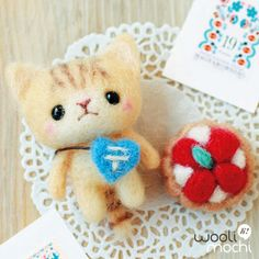 Tiger Kitten & Strawberry Tart Needle Felting Kit. $17.00, via Etsy.