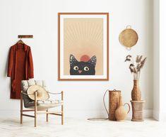 Abstract Sun Printable, Cat Portrait Print #midcentury #midcenturymodern #printable #printables #wallart #prints #art #midcenturyposter #downloadable #diyart #minimalist #abstract #abstractart #minimalistart #cat #blackcat Cat Posters, Burnt Orange, Diy Art, Midcentury Modern, Gallery Wall, Mid Century, Wall Decor, Portrait, Cats