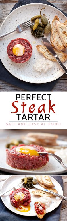 Perfect Steak Tartare at Home! Here's how to make the classic French appetizer… Beef Steak Recipes, Meat Recipes, Cooking Recipes, Paleo Recipes, Steak Tartare, Tartare Recipe, French Appetizers, Masterchef, Cuisine