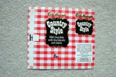 COUNTRY STYLE - 1970'S CADBURY BRITISH UK Chocolate Candy Bar Wrapper