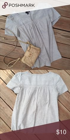 a.n.a. Blouse Excellent condition. Super pretty light grey color and light weight fabric. 100% cotton a.n.a Tops Blouses