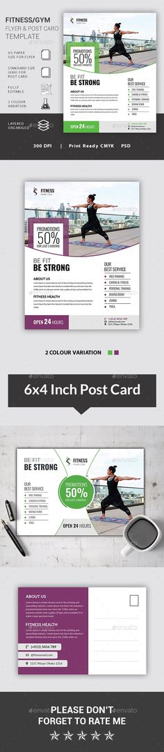 A Versatile Fitness / Gym Flyer & Postcard Template. Suitable for all health or sports related b Sports Flyer, Sports Clubs, Flyer Size, Postcard Template, Dance Studio, Card Sizes, Gym Workouts, Martial Arts, Print Design
