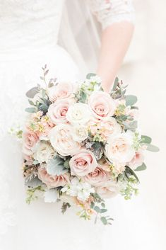 Elegant blush pink wedding bouquet --- love how full + tight knit the blooms are. The perfect bouquet for your elegant, spring wedding! Photo taken at THE SPRINGS Event Venue. this pin to our website for more information, or to book your free tour! Spring Wedding Bouquets, Spring Wedding Flowers, Bride Bouquets, Blush Pink Wedding Flowers, Pink Roses, Bridesmaid Bouquets, Wedding Flower Bouquets, Hand Bouquet Wedding, Spring Flower Bouquet