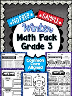 This is a FREE 5 PAGE SAMPLE taken from my 3rd Grade Winter NO PREP Math Pack. Enjoy! #freebie #3rdGrade #CommonCore