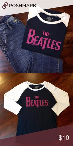 Old Navy Beatles 3/4 Tee ✔️3/4 Sleeve ✔️Cotton/Polyester ✔️Excellent Used Condition ✔️Navy/White/Raspberry Old Navy Tops Tees - Long Sleeve