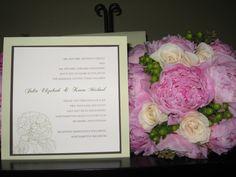 Layered Peony Wedding Invitation and Flowers, via Flickr.