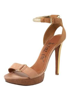 """Lanvin  Belted Ankle-Wrap Sandal  This versatile neutral Lanvin sandal wraps around like an anklet.  Leather forms simple sandal silhouette, detailed with golden buckles and snake chain.  Adjustable halter ankle wrap.  5"""" covered heel; 1"""" woodgrain platform lowers pitch to 4""""."""