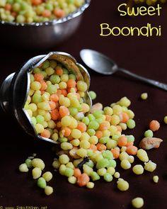sweet-boondi+recipe by Raks anand, via Flickr Goan Recipes, Indian Food Recipes, Indian Foods, Cooking Recipes, Indian Dishes, Indian Desserts, Indian Sweets, Ramadan Recipes, Sweets Recipes