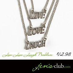 Live Love Laugh Necklace Live Love, Arrow Necklace, Club, Spring, Collection, Jewelry, Jewlery, Bijoux, Jewerly