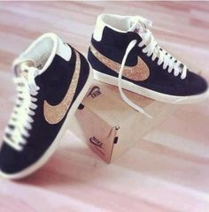 shoes, sneakers, nike, black, pearls, glitters, studs, cute, beautiful, fashion, girl, girly, street, must have, nike blazers - Wheretoget