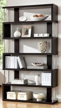 Help limited spaces feel bigger by organizing your collections with this zig zag shelf from Baxton Studio. With its modern staggered design, the Javier display unit features open shelves for an airy f 3 Shelf Bookcase, Modern Bookcase, Modern Shelving, Bookcases, Bookshelf Ideas, Contemporary Bookcase, Contemporary Design, Shelving Units, Black Bookcase