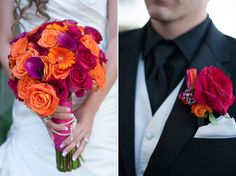 Orange, Red, Purple and Hot Pink!  Love this combo!! It's warm, fresh and fun!!  Photos by Renee of The R2 Studio via Hot Pink Brides.