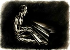 """I can imagine he is playing """"Moonlight Sonata"""" in this piece. It fits the mood. Oh, and I do not know the artist for this one either. I do apologize."""