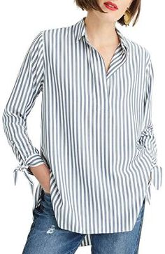 Crew Collared Tie-Sleeve Popover Stripe Shirt (Regular & Plus Size) Stylish Work Outfits, Casual Outfits, Cute Outfits, Blue Striped Shirt Outfit, Knitted Jackets Women, Fall College Outfits, Knit Jacket, Plus Size, Sleeves