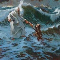 Jesus saves Peter.