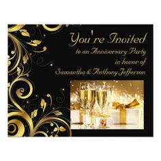 Black and Gold Swirl, Custom Anniversary Party Card