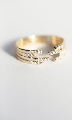 Jennie Kwon Designs Stacked Diamond Cuff Ring