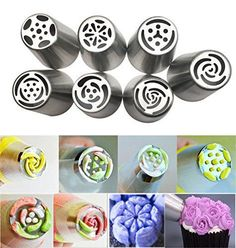 JJMG Russian Tulip Tips Stainless Steel Icing Piping Nozzles Pastry Decorating Tips Cake Cupcake Decorator icing dispenser (7 pieces)