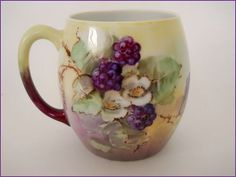 LIMOGES Porcelain mug - Hand Painted Fruit - Blackberries