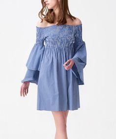 Dark Blue Shirred Tiered-Sleeve Off-Shoulder Dress