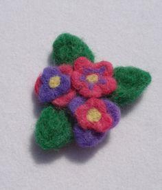 Needle Felted Pink Purple Flower Floral Brooch by PeacePinesStudio