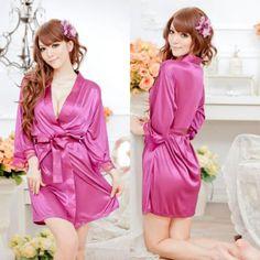 Female Sexy Temptation Women Dress V-neck Bathrobe Rayon Silk