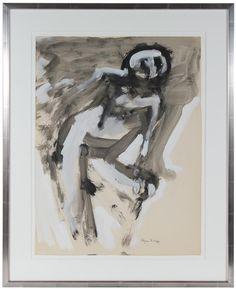 "12719- Alysanne McGaffey, 1950-1960s, Distemper on Paper, 25""x30.5"" Framed"