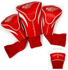Detroit Red Wings Golf Club 3 Piece Contour Headcover Set