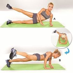 4 Exercises to Beat a Fitness Plateau:Lie on left side with hips and legs stacked. Place left forearm on floor and prop up upper body; raise right leg about 6 inches (A). Lower leg and rotate body unt (Mobility Exercises Lower Abs) Tracy Anderson Workout, Tracy Anderson Method, Yoga Fitness, Fitness Tips, Health Fitness, Workout Fitness, Pilates, Weight Loss Transformation, Best Weight Loss