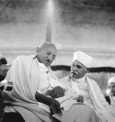 Mohandas Karamchand Gandhi and Madan Mohan Malaviya (1861 - 1946) at Varanasi, in 1941.
