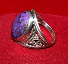 92.5 Solid Sterling Silver Purple Turquoise by gemsnjewelryworld