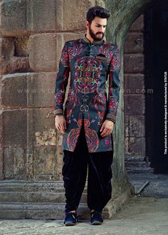 Buy online exquisite mens wedding wear collection both traditional and modern with wide choices and latest trends in fashion stitched from supreme quality fabric summed with customisation facility only at STATUS. Mens Wedding Wear Indian, Mens Indian Wear, Indian Groom Wear, Wedding Men, Wedding Decor, Wedding Venues, Mens Sherwani, Sherwani Groom, Wedding Sherwani