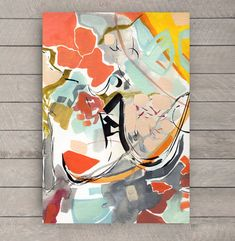 Orange Grey Black Blue Red Abstract Watercolor by cbedesigns, $15.00