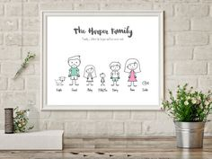 Ash so sweet! Would make such a great gift! Personalized Family Print, Family Name Sign, Family Picture, Family Motto, Personalised Family Gifts, Parents Anniversary, New Home Gift mum Personalized Family Print Family Name Sign by CraftyCowDesign