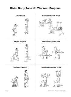 Bikini Body Tone Up Printable Workout Plan for Women   WorkoutLabs