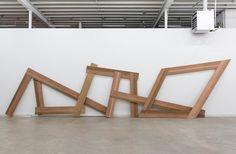 CHRISTINA MACKIE  The confusion part I, 2012  Cedar, brass, nylon  93 ½ x 388 x 19 inches (237.5 x 985.5 x 48 cm)