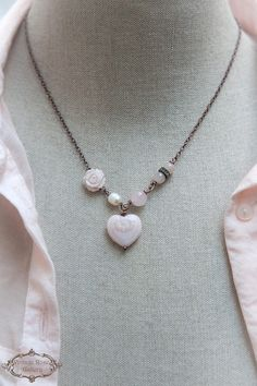 Valentine's Day Gift for Her Heart Necklace  Pink Shabby