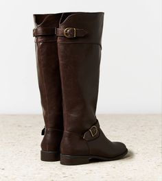 brown leather boots with buckles for fall