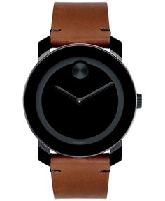 Styled to impress, this finely crafted timepiece from Movado's Bold collection features the classic black Museum dial offset by the rugged charm of a rich brown leather strap. | Brown leather strap  |