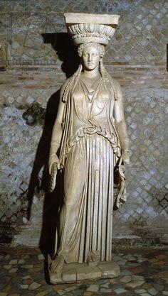 Kore, copy of a caryatid from the Erechtheion in Athens (marble). Roman, (2nd century AD) / Hadrian's Villa, Tivoli, Italy / The Bridgeman Art Library