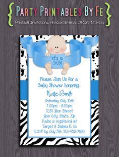 Printable Baby Shower Invitation ~ It's A Boy! 2 Baby Shower ~ I93