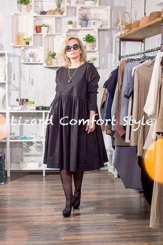 ЯВ1216: Платье Принцессы черное, полированный итальянски хлопок, размер 46/48, Nimble. Украшение, Италия