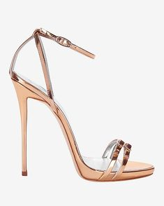 Giuseppe Zanotti Metallic Leather Double Strap Stiletto Sandal: Double buckled strapa at the toe and a wrap around buckled ankle straps. 5 heel with 1/4 platform. Thin back heel. Leather soles. In rose gold metallic. Made in ...