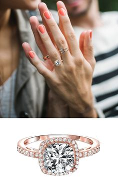 "A rose gold ring has an antique feel. Shop the ""pretty In Pink Ring"" from BlingJewelry.com -- the best selection of CZ engagement rings"