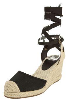 Sandália My Shoes Anabela Amarração Preta - Compre Agora | Dafiti Brasil